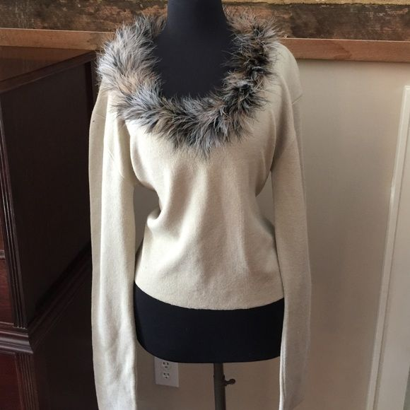 Long Elegant Legs Sweater with fur trim Tan sweater fur trim worn once Long Elegant Legs Sweaters Crew & Scoop Necks