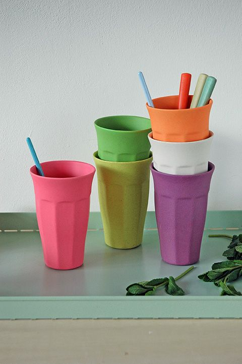 CUPFUL OF COLOUR-XL Extra Large Cups, set/6 in RAINBOW colours. material based on bamboo