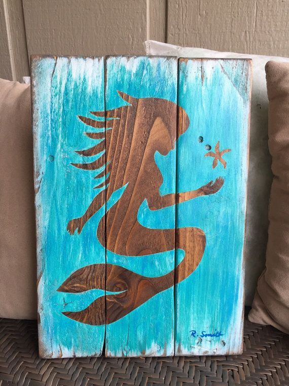 Stained Or Painted Mermaid Silhouette On Painted Or