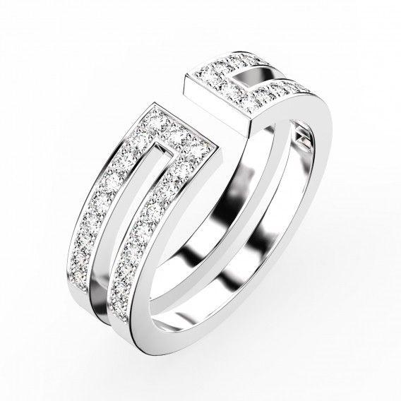 Gemmyo : Bague Ariane Pavée - Or blanc 18 cts, Diamant