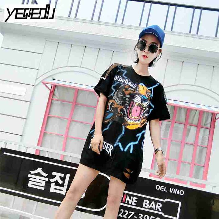 >> Click to Buy << #2669 2017 Summer T-shirts With hole Mesh sleeve Off shoulder Hip hop t shirt Fashion Punk rock Harajuku women Streetwear #Affiliate