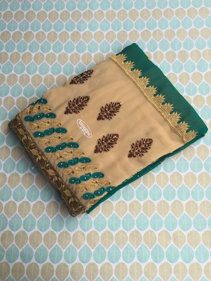 Peacock Green Georgette Jacquard Saree with Blouse