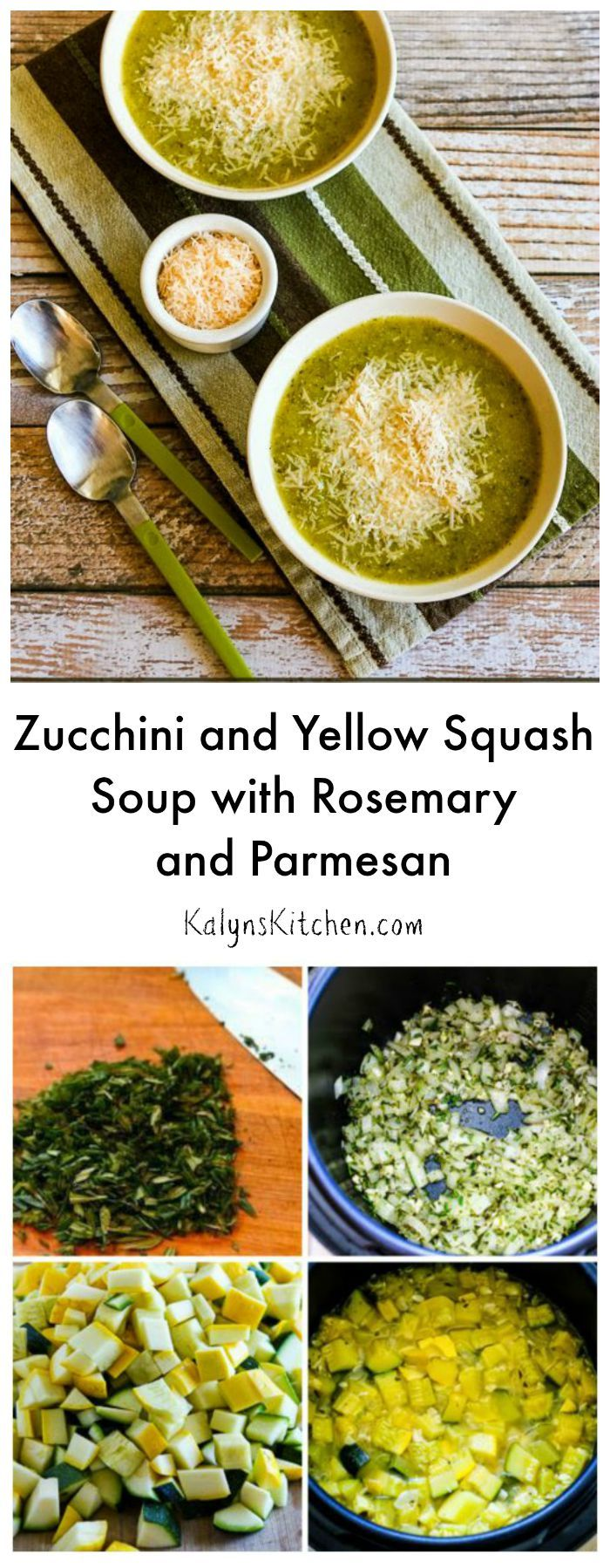 When soup weather arrives, this Zucchini and Yellow Squash Soup with Rosemary and Parmesan makes an easy and delicious dinner. This #LowCarb and #Meatless soup can be made in a #PressureCooker or on the stovetop.  [from KalynsKitchen.com]