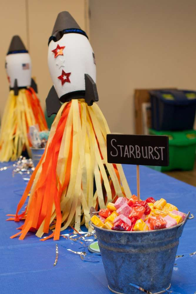 Starburst candies at a space birthday party! See more party ideas at CatchMyParty.com!