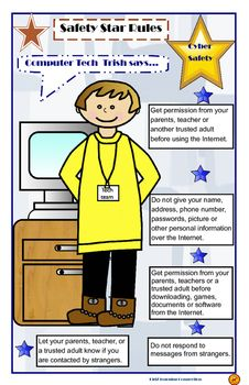 Computer Tech Trish gives five basic rules and tips for Internet safety. Display this 8 1/2 by 14 poster in your classroom as an internet safety reminder for students. Use this poster when covering Internet safety rules and practices with students. Topics covered include: stranger safety, personal information, and downloading documents and software.Suggestions for Classroom Lessons:1.