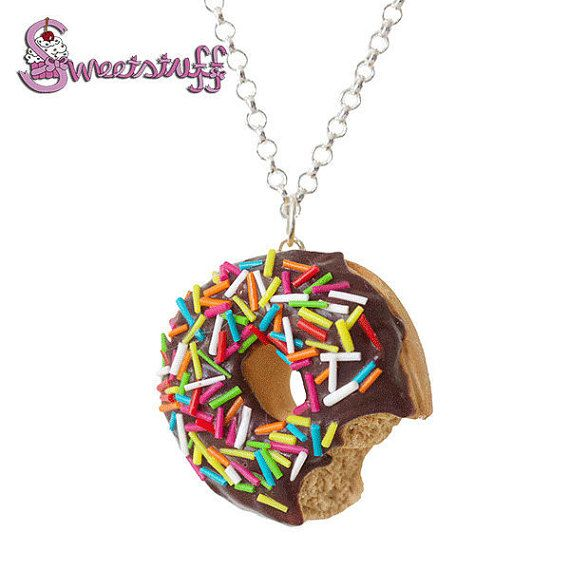 Chocolate donut necklace by sweetstuffwebshop on Etsy