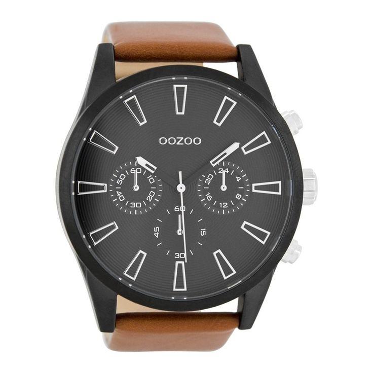 OOZOO Timepieces Cognac/Zwart horloge C8203 (50 mm)