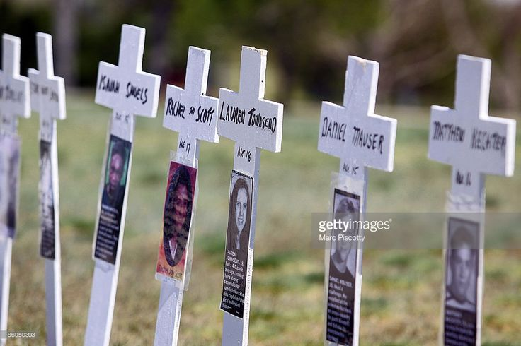 Miniature crosses are displayed to commemorate the ten-year anniversary of the Columbine High School shootings at Clement Park April 20, 2009 in Littleton, Colorado. Columbine was the site of the then deadliest school shooting in modern United States history when, on April 20, 1999, Eric Harris and Dylan Klebold killed 12 students and one teacher, and wounded 23 others, before taking their own lives.