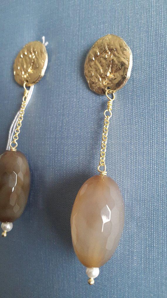 Orecchini lunghi pietre dure Agata e di LArteDeiParticolari
