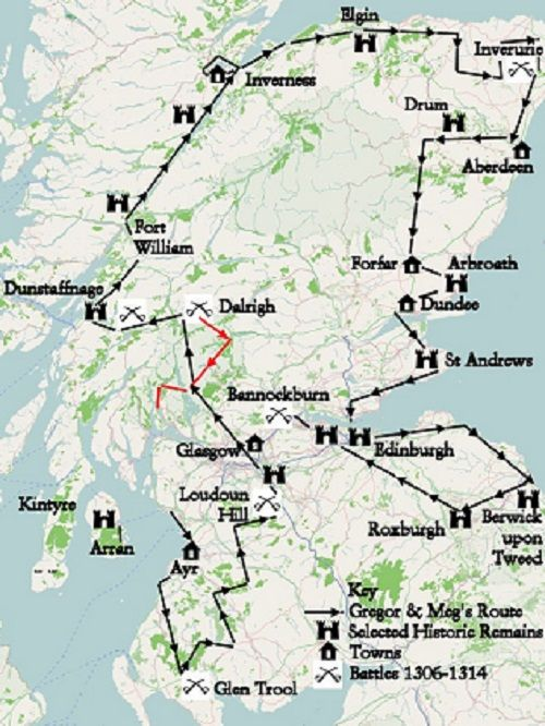 A map of Scotland with a travel route