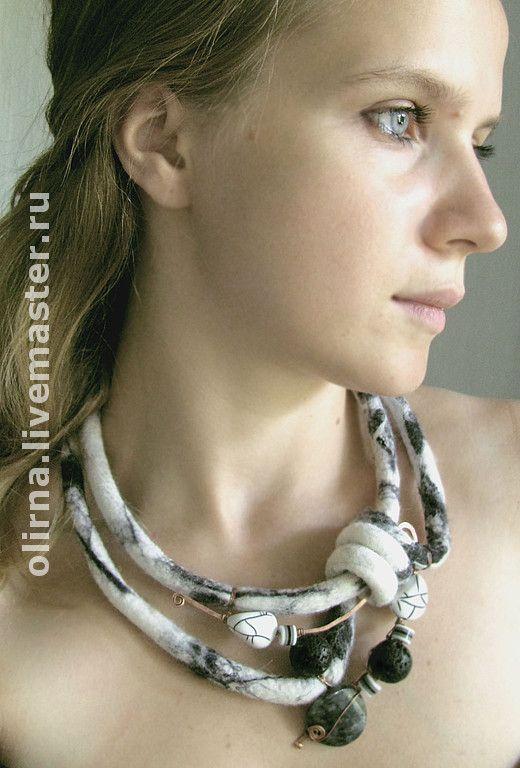 Felt, stone , wire combination