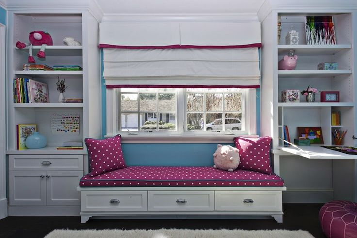 Fiorella Design - girl's rooms - white, built-ins, blue, walls, flokati, rug, built-in, daybed, fuchsia, cushion, pillows, white, roman shade, fuchsia, ribbon, trim, desk, girls room window seat, kids room window seat, built in window seat, window seat bookcases, window seat bookshelves,