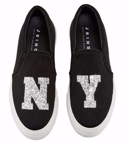 NY Silver Sparkle Slip-On Sneakers