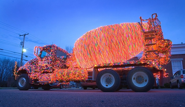Cement truck decorated for the holidays: