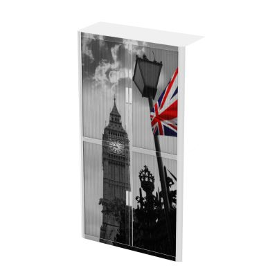Black and white image of Big Ben and red/white/blue Union Jack flag on 2 metre tambour storage cupboard.