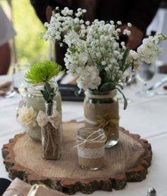 Rustic Mason Jar Wedding Centerpiece / http://www.himisspuff.com/creative-rustic-bridal-shower-ideas/3/