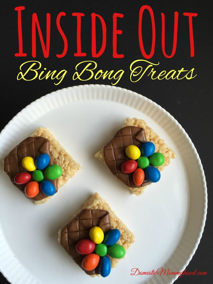 Inside Out Bing Bong Treats #Disney #Insideout #pixar Tootsie roll, Peanut mnm's on rice crispie treat