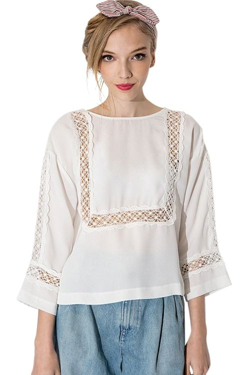 Openwork Lace Splicing 3/4 Sleeve Shirt