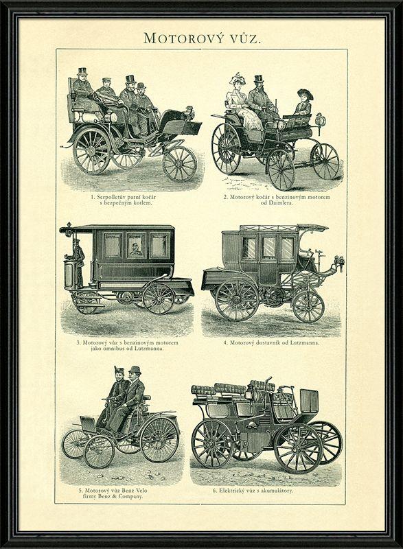 Staré,detailní kresby historických vozů - motorový kočár Daimler, motorový vůz Benz Velo, Serpolletův parní kočár a další.