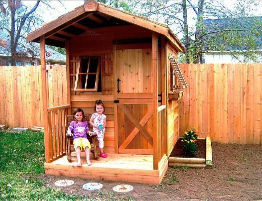 A customer from Willis, Texas shows us how happy her little girls are with their new playhouse.