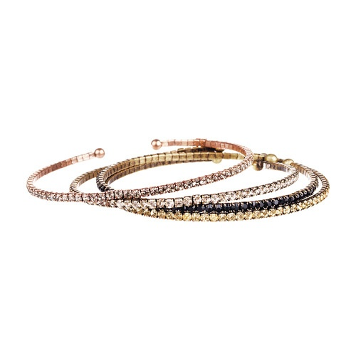 "$48.00 Stack on the sparkle with these petite flexible bangles. Teeny tiny rhinestones pack a whole lot of punch in this perfectly color-splashed set.    antique brass + shiny rose gold-plated  nickel-free  2.25"" inner diameter  starry night: Rhinestones Open, Open Bangles, White Backgrounds, Rhinestone Open, Bangles Sets, Sets Chloe, Bangle Sets, Petite Rhinestones, Chloe Isabel"
