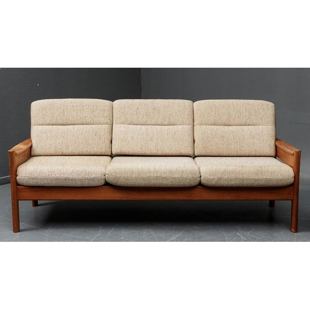 Manufactured by DYRLUND  DENMARK  Circa 1960  Sturdy and classy sofa that features a solid teak frame and original light beige mottled wool fabric. Belongs to a set of 3, consisting in a love seat sofa and easy chair. They can be bought individually or as a set.  SIZE  Width: 190 cm  Depth: 82 cm  Height: 80 cm  Seat Height: 42 cm