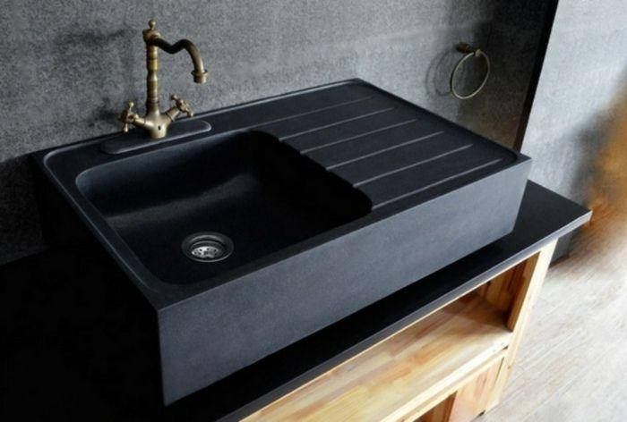Küchen Spüle aus Granit in schwarzem Matt