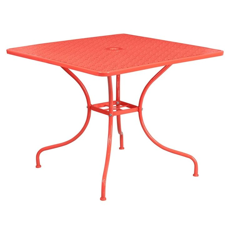 Offex 35.5'' Square Coral (Pink) Indoor-Outdoor Steel Patio Table, Patio Furniture (Metal)