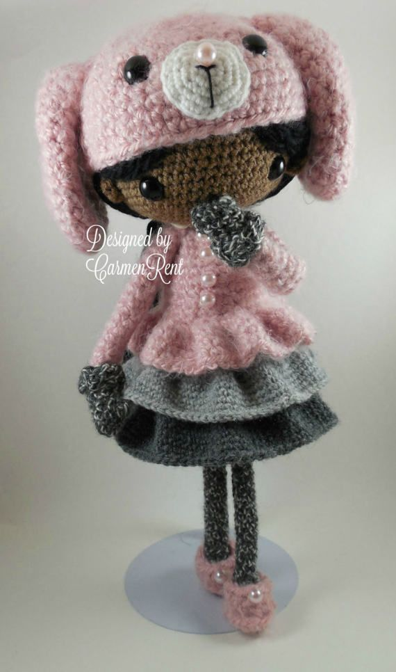 June and her Rabbit Amigurumi Doll Crochet Pattern PDF