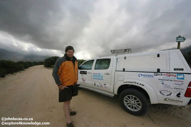 @JohnLucas_co_za with his #Toyota #Hilux at the source of the #OlifantsRiverWC at #Visgat on the #e4k_water #Research and #Environmnetal #education #Project #explore4knowledge #e4k_JohnLucas #e4k with his trusted #KWay #RainJacket from @capeunionmart
