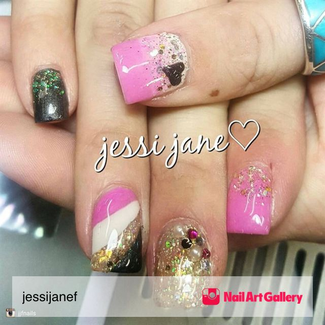 Jjf Nails by jessijanef via Nail Art Gallery #nailartgallery #nailart #nails #gel #naildesign #glitter #gelnails #grey #white #valentinesday #pink #valentinesnails #heart