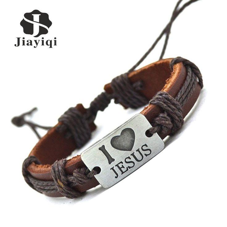 Jiayiqi New Brand Fashion Vintage Genuine Leather Bracelets & Bangles I Love Jesus Rope Bracelet for Women Men Jewelry 2016