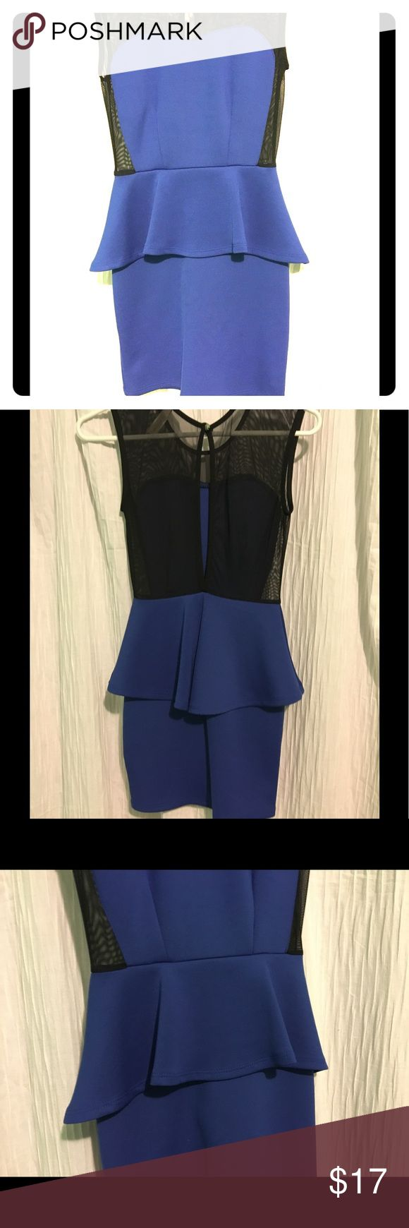 PEPLUM DRESS! Blue and black peplum dress! Cotton bottom and mesh top. Size small, short, tight, worn three times still in perfect condition! chocolate USA Dresses Mini