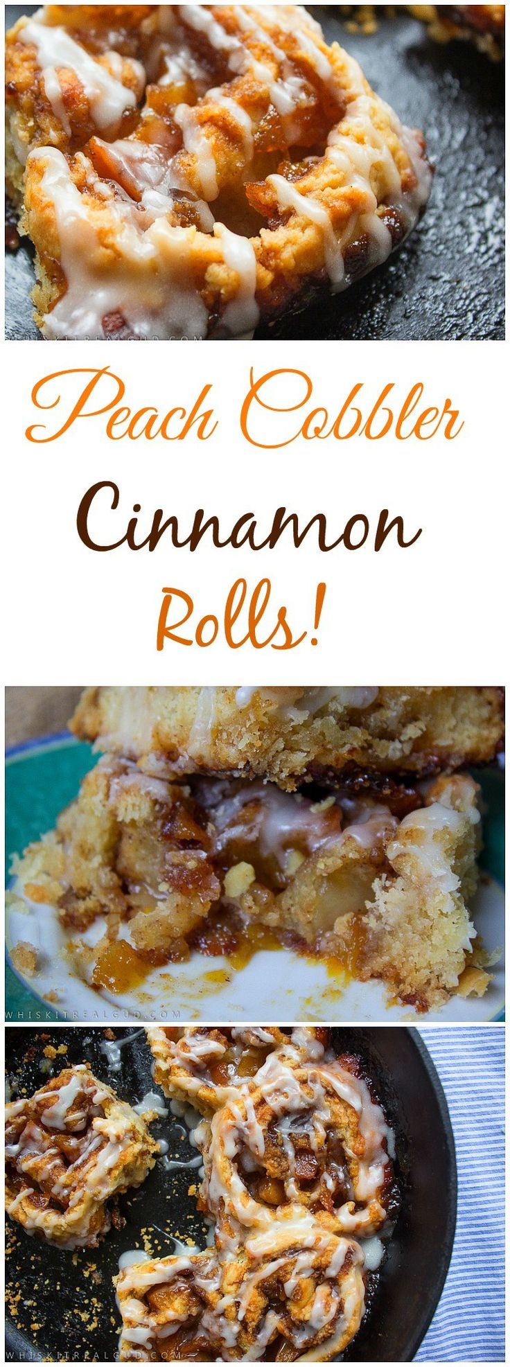 Delicate, buttery flaky warm rolls with chunks of peaches which are covered in brown sugar, warm spices and butter. A Cinnamon and sugar mix sprinkled on top then drizzled with peach glaze. Every year around this time I gotta have peach cobbler. I love it. ... #cinnamonrolls #cobbler #peachcobbler