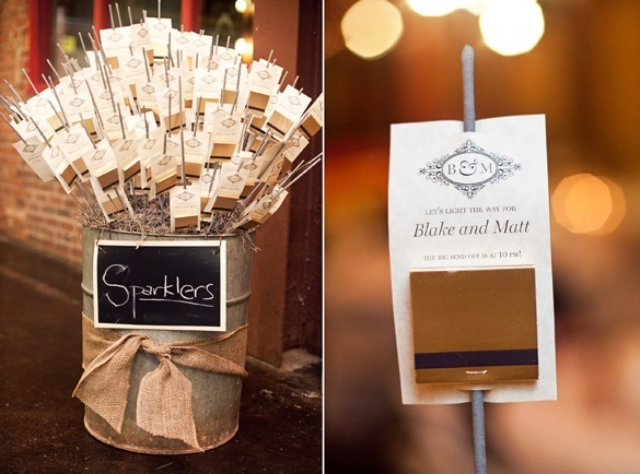Sparkler farewell with matches attached