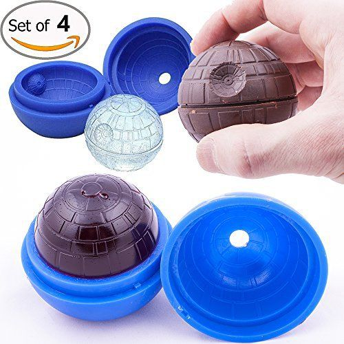 Death Star Ice Mold for Star Wars Lovers By Vibrant Kitchen Silicone Ice Cube Trays for Cool Drinks and Baking! Make Ice Balls Candles Soap Chocolate and Jelly! (Set of 4) - http://bestchocolateshop.com/death-star-ice-mold-for-star-wars-lovers-by-vibrant-kitchen-silicone-ice-cube-trays-for-cool-drinks-and-baking-make-ice-balls-candles-soap-chocolate-and-jelly-set-of-4/