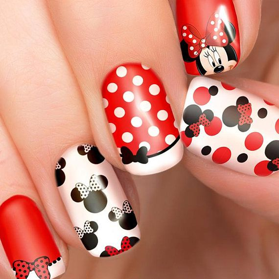 Minnie Mouse Disney nail transfers – illustrated nail art decals – Minnie Disney nail stickers