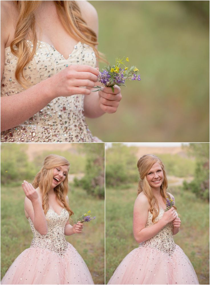 High School Graduation 2015 Highlights | Medicine Hat Photography.  Photo ideas for grad student in pink grad dress with crystals for prom humorously pulling petals froma flower. Taken by Woods Photographer (CANADA).  #graduation #prom #photography