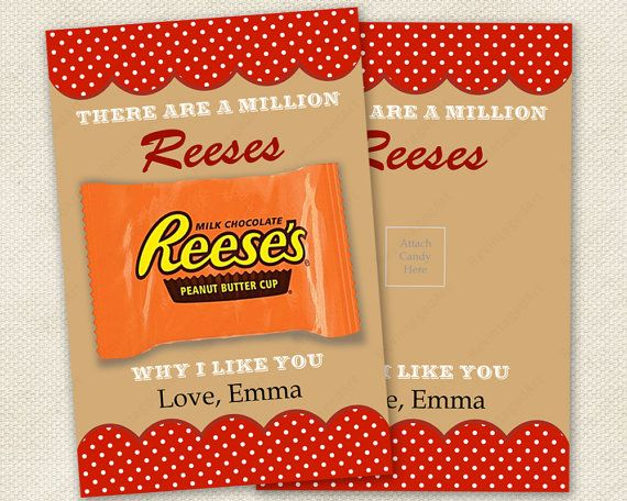 "Valentine Cards. ""There are a Million Reeses Why I Like You.""  Perfect for both children and adults.  Printable pdf file with editable text field for personalization.  Easy to print and assemble.  Who wouldn't love a Reese's Peanut Butter Cup this Valentine's Day?"