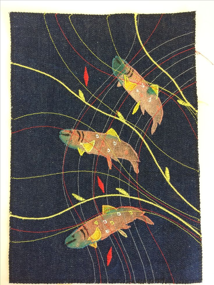 Three+Brook+trout+embroidered+panel+on+denim+by+Jackie+Wills, £65.00