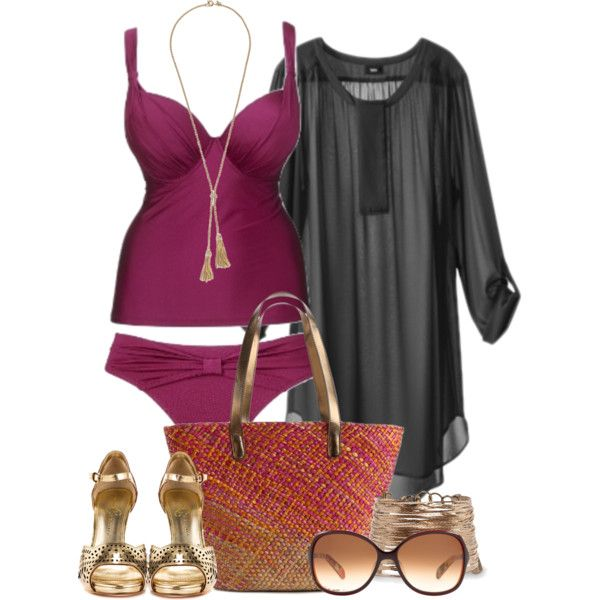 Beach gone glam - Plus Size, created by alexawebb on Polyvore