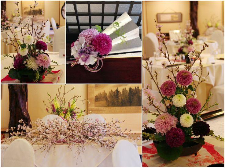 桜やダリア、マムを使った和の会場装花。 ゲストテーブルには細長い器を使ったモダンな和風アレンジを。桜の枝とグリーンの枝を使ってボリュームと動きを出しています。 桜を植えた苔玉を点在させて会場のアクセントに。[ 浅草 今半別館様 ]  ◆ ◆ kukka design ◆◆  東京・三軒茶屋にあるウェディングフラワーのオーダーメイドアトリエ www.kukka-flowers.com