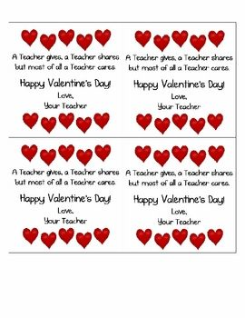 Valentine S Day Cards From The Teacher First Grade Printables
