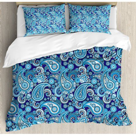 Paisley Decor Queen Size Duvet Cover Set, Traditional Asian Pattern with Flowers Leaves and Dots Blue Backgrounded Artwork, Decorative 3 Piece Bedding Set with 2 Pillow Shams, Blue, by Ambesonne
