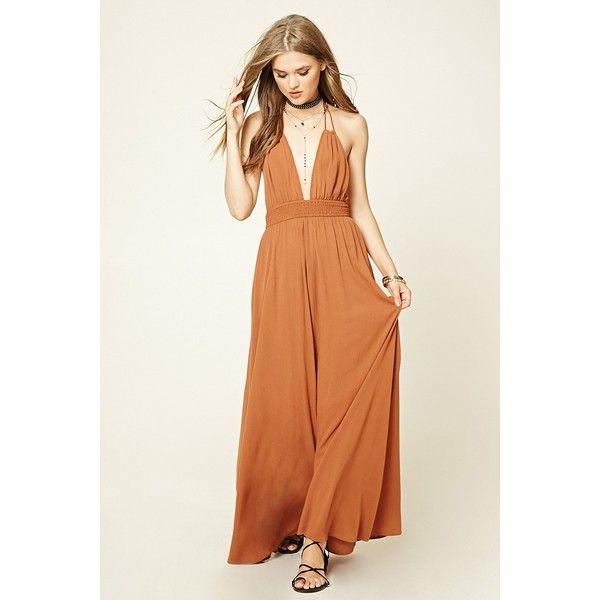 Forever 21 Women's  Smocked Halter Maxi Dress (415 ZAR) ❤ liked on Polyvore featuring dresses, maxi dresses, smocked maxi dress, halter maxi dress, halter top and halter-neck dress