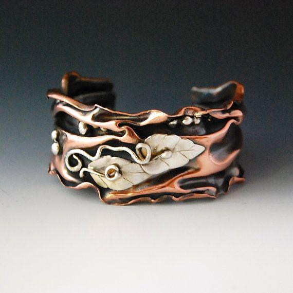 Copper and Silver Folded Cuff by cyndiesmithdesigns on Etsy, $125.00