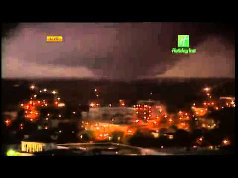 2012 Dec 25: Local live news footage of the Mobile Alabama tornado.  Footage from the webcam at the Holiday Inn shows the large wedge tornado churning through the Mobile metro area.  Watch for the power flashes.