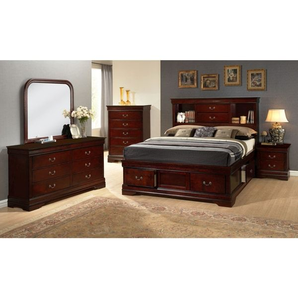 LYKE Home Lawson Cherry Finished Wooden Storage Bed