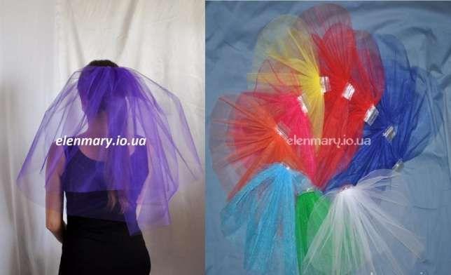 Цветная пышная фата для девичника 50см Киев - изображение 1