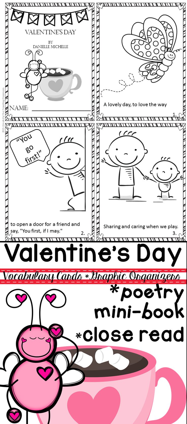Valentine's Day Close Reading includes mini book, vocabulary cards, graphic organizers, close reading tools, & more!$